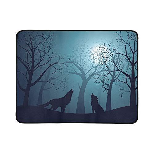 WOCNEMP Schattenbild-Wolf-Heulenmond-Waldnacht tragbare und Faltbare Deckenmatte 60x78 Zoll handliche Matte für kampierenden ()