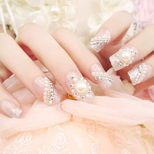 Französisch Stil Falsche Nägel Patches Mit Perle Braut Maniküre Patch Decor Voller Aufkleber Schöne Nagel Werkzeug C20 -