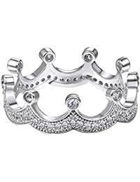 Princesa corona anillo circonitas cúbicas diseño de anillo, 18 K chapado en oro/platino