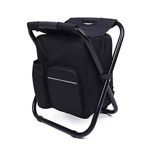 Foonee laptop backpack cooler sedia, sedia da campeggio pieghevole portatile sgabello zaino con raffreddamento isolati picnic bag per escursionismo camouflage pesca nero