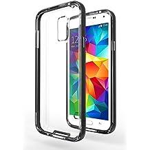 Funda Galaxy S5 Neo - Azorm Hybrid Edition Negro - Bumper con Efecto Metálico, Transparente, Resistente a los arañazos en su parte trasera, Amortigua los golpes - funda protectora de silicona anti-golpes para Samsung Galaxy S5 Neo New
