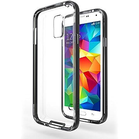 Funda Galaxy S5 Neo - Azorm Hybrid Edition Negro - Bumper con Efecto Metálico, Transparente, Resistente a los arañazos en su parte trasera, Amortigua los golpes - funda protectora de silicona anti-golpes para Samsung Galaxy S5 Neo