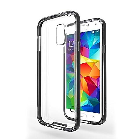 Coque Galaxy S5 Neo - Azorm Hybrid Edition Noir - Coque Effet Métallisé Noire, Transparente, Fine, Antidérapante - housse étui bumper coque de protection antichoc hybride pour Samsung Galaxy S5 Neo / New