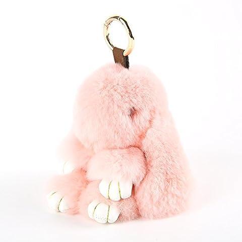 YISEVEN Bouquet de jouet en lapin farci - Rex Boucle de fourrure en lapin en peluche en peluche - Mignon ornement / Accessoires pour femmes Pendentif portable pour main (5,9 pouces)-rose