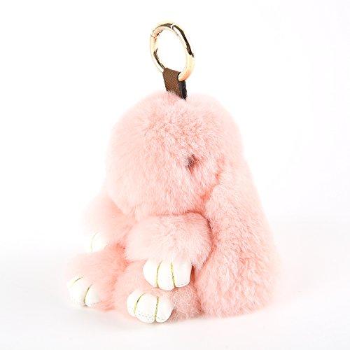 YISEVEN Damen Plüsch Kaninchen schlüsselanhänger Auto Schlüsselring Handtasche Taschenanhänger Zubehör Hase Puppe - Rosa (Rot Lammfell Handtasche)