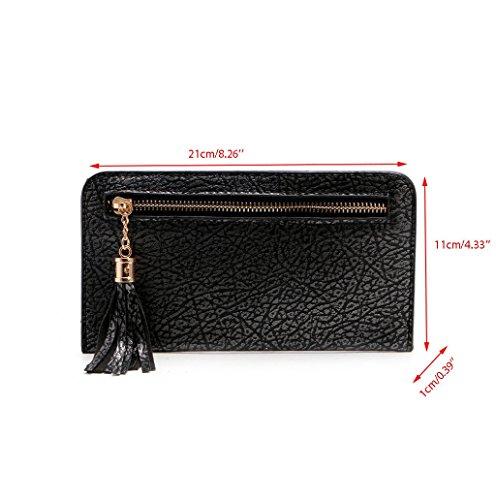 Dairyshop Borsa donna Portafoglio Sacchetto di moneta nappa mobile della holding della carta lunga del raccoglitore della donna (Grigio) Nero
