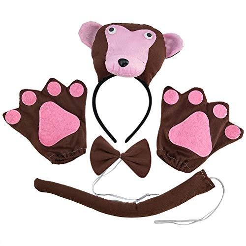 Kreative Affe Kostüm - STOBOK Niedliche AFFE Stirnband Fliege Schwanz Handschuhe Kinder Performance Requisiten