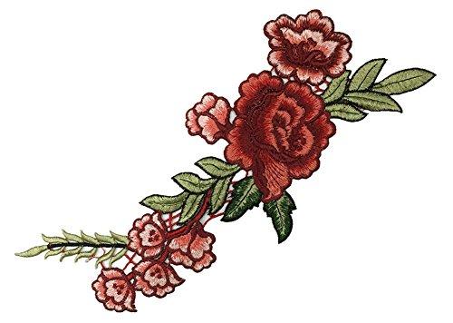 Blue Vessel 2 Stk Stickerei Rose Blume Nähen auf Patch Abzeichen Tasche Hut Jeans Kleid Applique Fertigkeit