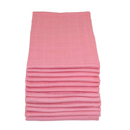 Muslinz Premium High Quality Baby Muslin Squares (Pretty Pink,Pack of 12)