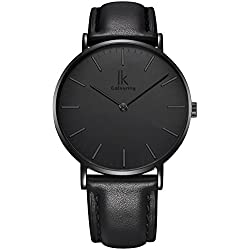 Alienwork IK All Black Quartz Watch elegant Wristwatch stylish Timeless design classic Leather black black 98469L-03