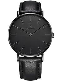 Alienwork IK All Black Quarz Armbanduhr elegant Quarzuhr Uhr modisch Zeitloses Design klassisch Leder schwarz 98469G-03