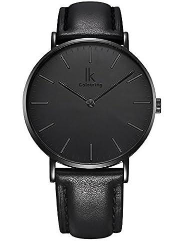 Alienwork IK All Black Quartz Watch Timeless design women watches men Ultra-thin Leather black 98469L-03