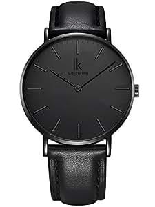 Alienwork IK All Black Quarz Armbanduhr elegant Quarzuhr Uhr modisch Zeitloses Design klassisch schwarz Leder 98469G-03