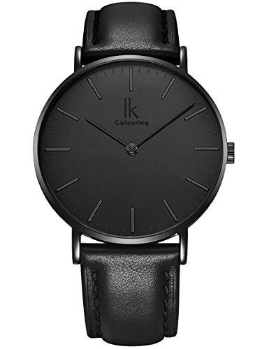 Alienwork-IK-All-Black-Quarz-Armbanduhr-elegant-Quarzuhr-Uhr-modisch-Zeitloses-Design-klassisch-schwarz-Leder-98469L-03