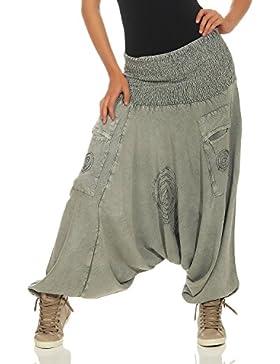 LEENA Pantalones de harén Haremshose Bloomers de Las Mujeres Pantalones de Yoga de Aladdin Pantalones