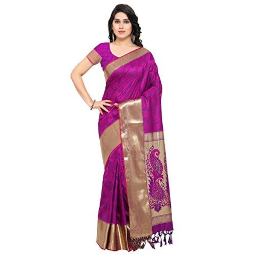 Varkala Silk Sarees Women\'s Art Silk Kanchiuram Saree With Blouse Piece(AWJP7101PV_Purple_Free Size)