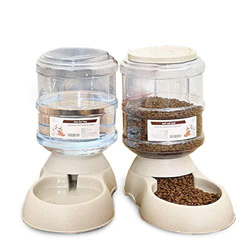 Distributeur Eau et Croquettes Automatique pour Chat/Chien Animaux Domestiques 3.75L x 2 Pièces Conservateur d'Aliments et Eau