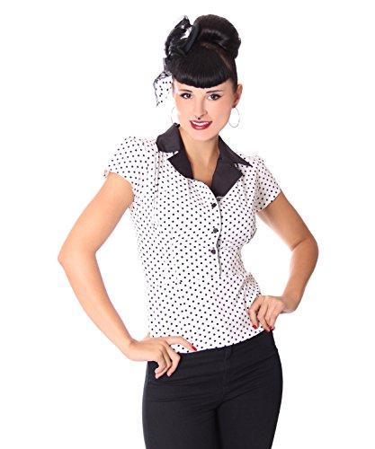 se Missy Polka Dots Blusen Shirt, Größe:XL, Farbe:Weiss ()