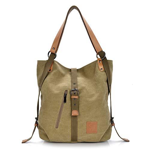 Gindoly Stilvolle Damen Canvas Handtasche Rucksack Umhängetasche 3 in 1 Große Multifunktionale Tasche für Arbeit Schule Reise (Khaki) EI...