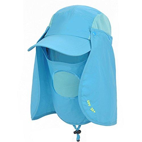 WYYY Chapeaux Hommes Visière Polyester Respirant Complet Protection Contre Le Soleil Protection UV De Plein Air 52-60cm (Couleur : Bleu)