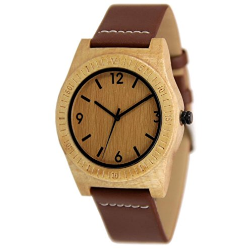 - Unisex Armbanduhr Herren Damen Uhr Holz Armband Holzarmband Analog Quarz Herrenuhr Damenuhr Naturholz Handgefertigt-Maple-Brown