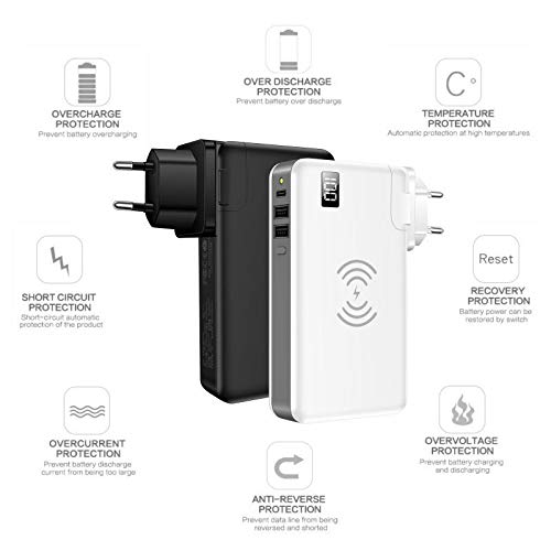 TIITAN Wireless Intelligent Charger,10000 mAh Portable Power Bank Detachable USB Wall Charger Multi-Protection Image 3