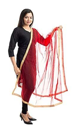 Lodestone Women's Net Dupatta With Lace Work at amazon