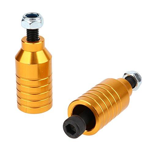 Unbekannt 2pcs Scooter Pegs Set Tretroller Montage Hardware Zubehör - Gold