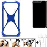 K-S-Trade Handyhülle für Allview X4 Xtreme Bumper Schutzhülle Silikon Schutz Hülle Cover Case Silikoncase Silikonbumper TPU Softcase Smartphone, Blau (1x), Headphones