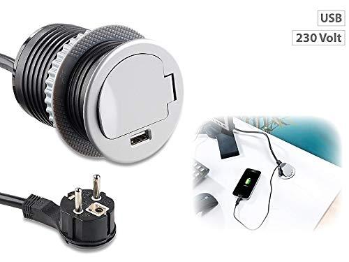 Revolt mesa enchufe: Mesa de enchufe empotrable con USB y conductos de...