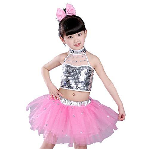 ZYLL Tanzkostüme für Jungen Jazz Kostüme für Kinder Jazz Kostüme Mädchen Modern Dance Wear,Pink,110CM