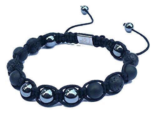 Jo.28 Designer Armband Mystic Spirit aus Handarbeit - Edles Perlenarmband mit 13 echten Hämatit, Lava & Onyx 8mm Perlen - Armschmuck für Damen und Herren - Jade Paracord