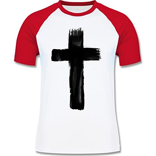 Shirtracer Symbole - Kreuz Vintage - Herren Baseball Shirt Weiß/Rot