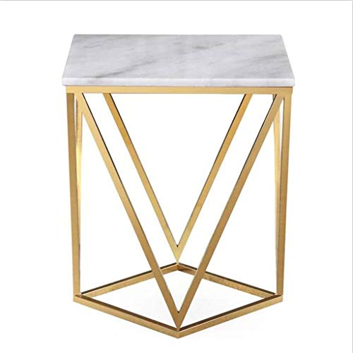 Tables basses Table en marbre Salon en Acier Inoxydable Petite Table Table carrée (Color : Gold, Size : 50 * 50 * 60cm)