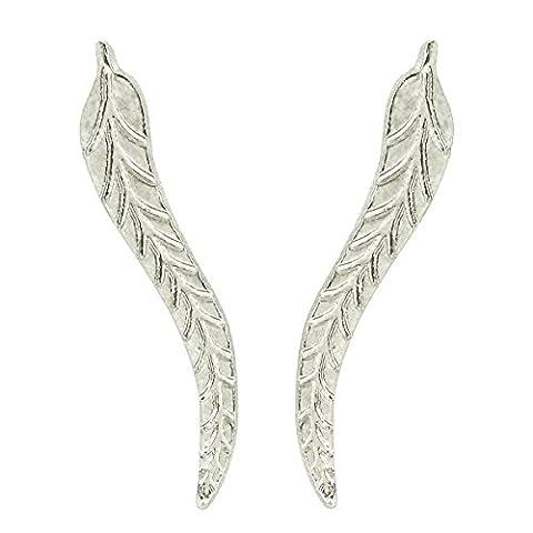 Boucles d'oreilles à crochets grimpantes couleur argent en forme de plume ou de feuille, pour oreilles percées