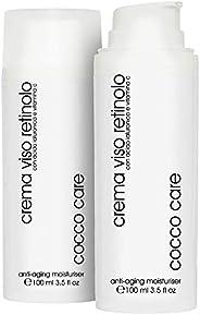 BIO Crema Viso Retinolo con Acido Ialuronico Puro e Vitamina C - ENORME Flacone da 100 ml - Contorno Occhi - T