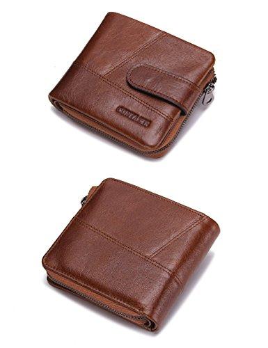 HIRAM Weinlese-echtes Leder Mens-Reißverschluss-Münzen-Taschen-Geldbeutel-Mappe braun