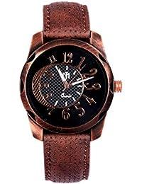 Wonder Black Dial Round Shape Leather Belt Analog Watch For Men & Boys