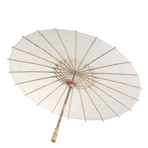 MAyouth Chinesisch-Japanische Art Bambus Sonnenschirm Stockschirm, Öl-Papier White Umbrella China Traditioneller Tanz Requisiten Sonnenschirme Handgemachte Dekorationen