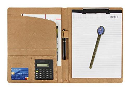 Schreibmappe A4 Dokumentenmappe Leder Klemmbrettmappe mit Klemmbrett Taschenrechner Business Konferenzmappe für Büro und Schule
