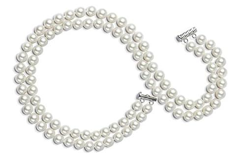 AAA 7,5–8mm Collier de perles d'eau douce Blanc 2rangées 15en 16en ras du cou