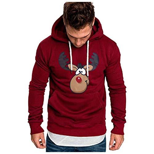 KPILP Herren Mode Sweatshirt Kapuzenpullover Casual Streetwear Basic Style Langarm Hoodie Pullover Herbst Winter Kapuzenpullover mit Taschen