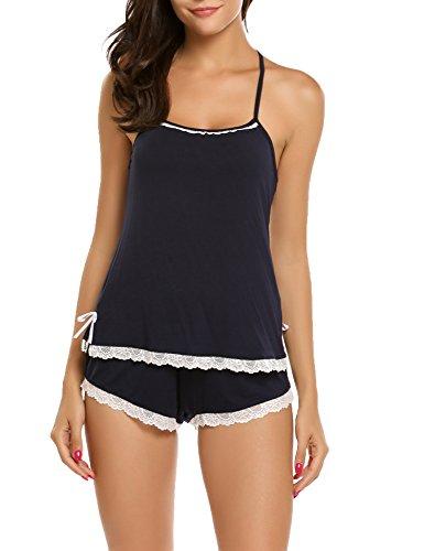 Ekouaer Damen Zweiteiliger Nachtwäsche kurz sexy Ärmellos rückenfrei Pyjama Set Tank Top und Elastische Taille Shorts Schlafanzug, B Blau, Gr. EU XL