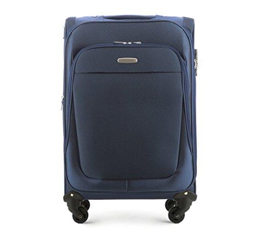 WITTCHEN Reisekoffer Trolley 23'' Koffer, 28x65x40 cm, Marineblau, 60 Liter, Größe: mittel, M, Polyester, TSA Zahlenschloss, 56-3S-482-90