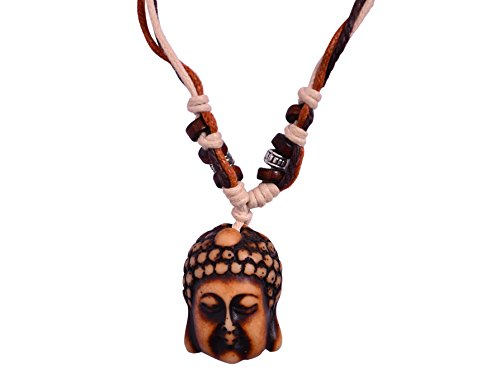 "Purpledip Necklace Chain ""Forever Buddha"": Unique Pendant With Adjustable Cotton Cord 
