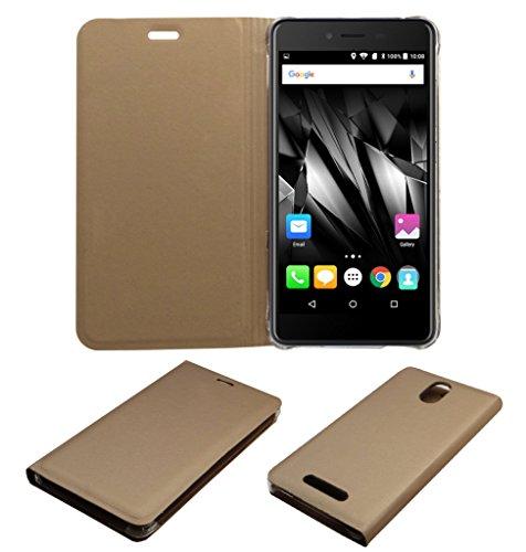 Acm Premium Flip Flap Case For Micromax Canvas Evok E483 Mobile Front & Back Full Cover Golden
