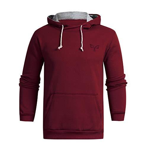 Aoogo Herren Langarm Herbst Winter Casual Sweatshirt Hoodies Top Bluse Fit Kapuzenpullover Herren Sport Fitness Gym Training & Freizeit   Sportpullover