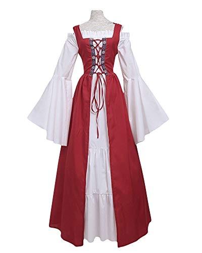 ZhuiKunA Mittelalter-Kostüm Langarm Magd Freifrau Damen Vintage Retro Hohe Taille Kleid Prinzessin Gothic Kleid Rot L