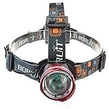 Boruit Linterna Frontal Linterna Pasada que Alumbra Bien XM-L T6, Ajustable Impermeable con 3 Modos 2200 Lúmenes para Pesca, Caza, Alpinismo, Montar en Bici, Color Rojo