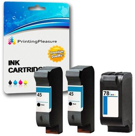 Printing Pleasure 3 Druckerpatronen für HP Color Copier 180 280 Deskjet 1180c 1220c 1280 6120 9300 930c 959c 970cxi Fax 1220 Photosmart 1000 1115 | kompatibel zu HP 45 (C51645AE) & HP 78 (C6578AE)